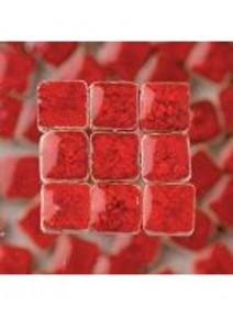 mosaïquex100/5x5x3mm rouge avec glaçure 10grs