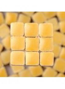 mosaïque jaune clairx300/3x3x2mm avec glaçure 6grs