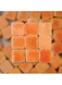 mosaïque orange pastelx300/3x3x2mm avec glaçure 6g