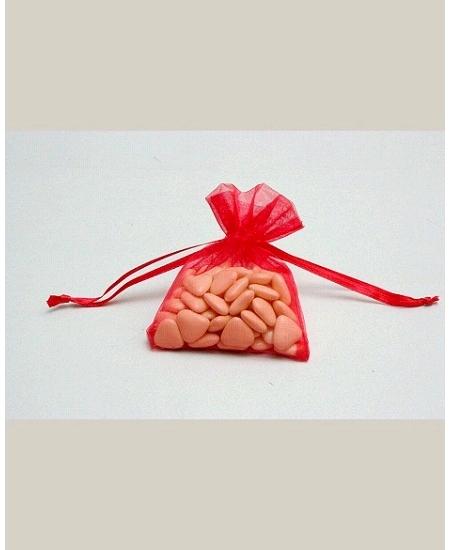 sachetsx10/7.5x10cm organdi rouge