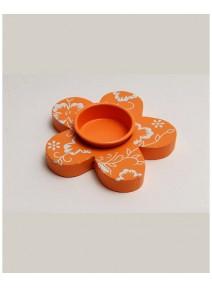 FIN DE SERIE fleur bougeoir mandarine