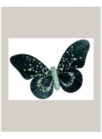 papillonsx2 perlé noir/argent sur pince