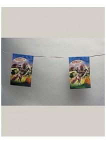 guirlande 4m/8 pavillons country papier
