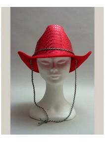 chapeau cowboy adulte brillant rouge