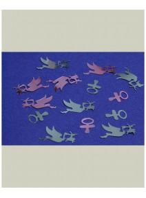 confettis cigognes+tétines métal 14grs rose+bleu