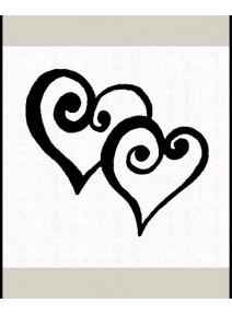"tampon ""deux coeurs spirale""  taille c : 3.5x2.5cm"