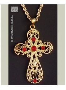 collier doré avec croix avec pierres