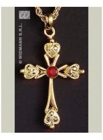 collier doré avec croix + une pierre rouge