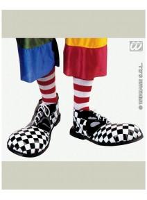 chaussure de clown noire/blanche plastique 36cm