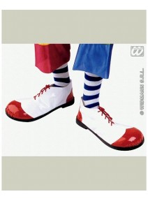 chaussure de clown blanche/rouge plastique 36cm