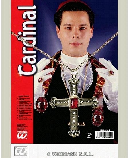 set cardinal : chaîne avec croix + 2 bagues