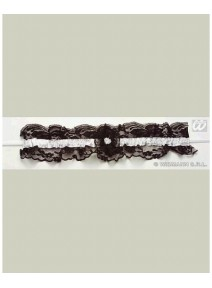 jarretière fond noir avec ruban blanc