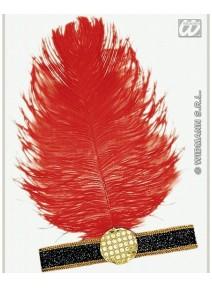 bandeau charleston noir + plume rouge
