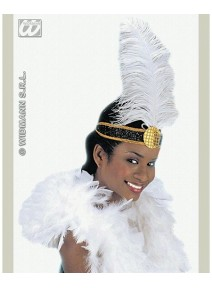bandeau charleston noir + plume blanche
