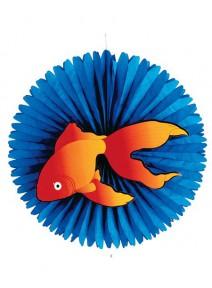 éventail d55cm oriental fond bleu poisson