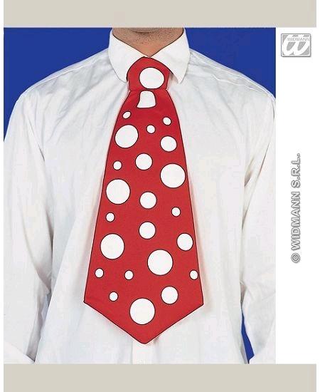 cravate rouge maxi à pois blanc h45cm
