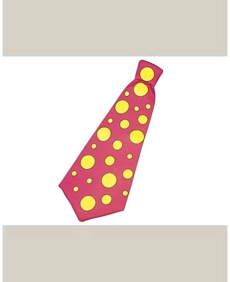 cravate rose maxi à pois jaune