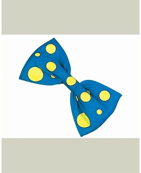 noeud papillon bleu pois jaune maxi clown