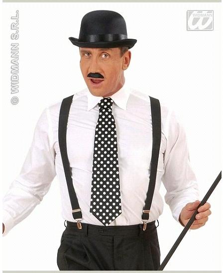 cravate à pois blanc fond noir