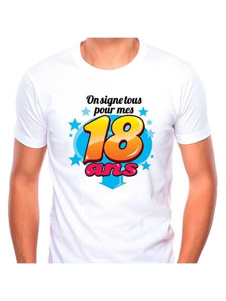 tee-shirt 18ans + stylo fond blanc