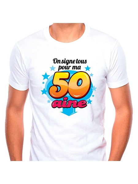 tee-shirt 50taine + stylo fond blanc