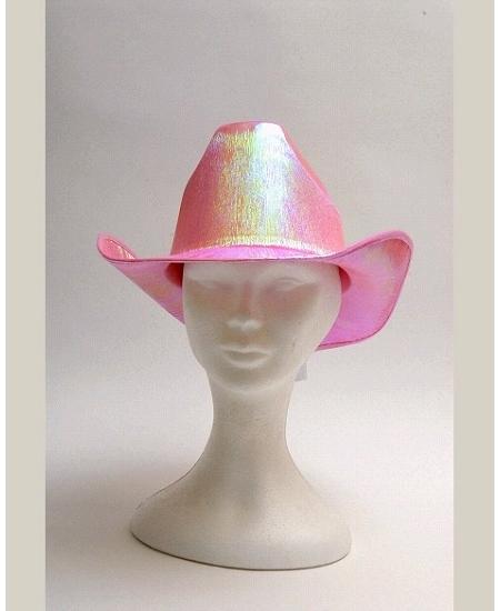 chapeau cowboy rose vif irisé