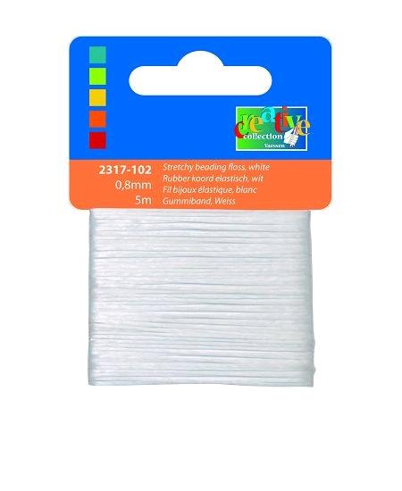 fil bijoux élastique 5Mx0.8mm blanc