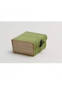 boîte à dragées verte en bambou 6x6cm/h3