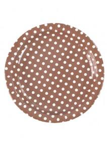 assiettesx10/D22.5cm chocolat à pois