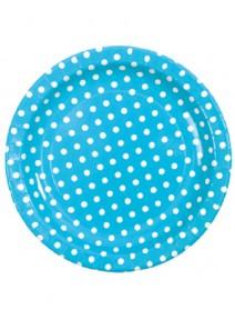 assiettesx10/D22.5cm turquoise à pois