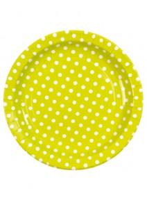 assiettesx10/D22.5cm vert anis à pois