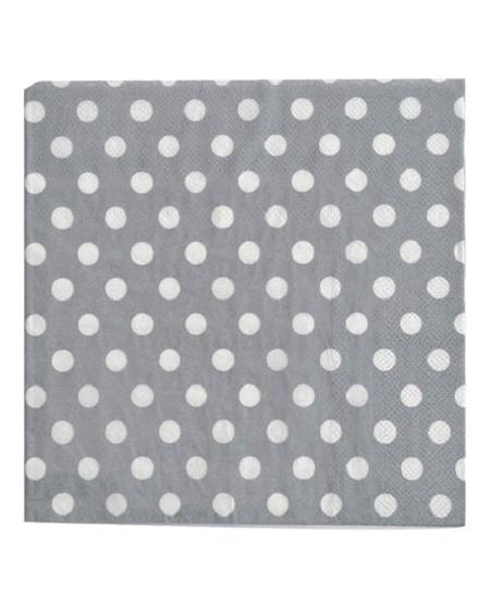 serviettesx20/3plis gris  à pois