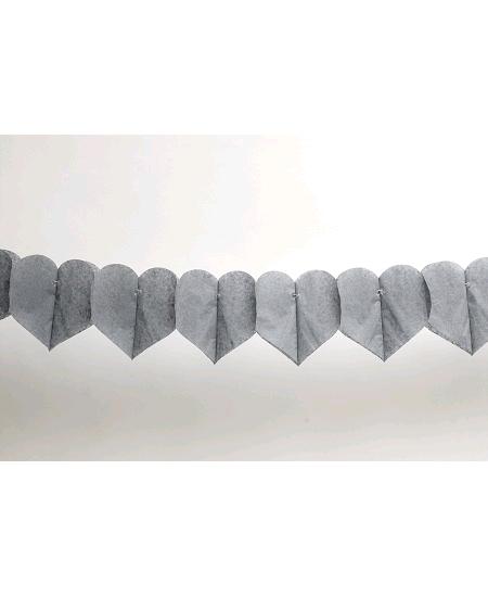 guirlande coeur 6M gris