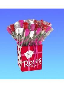 rose odorante fuchsia emballé avec noeud