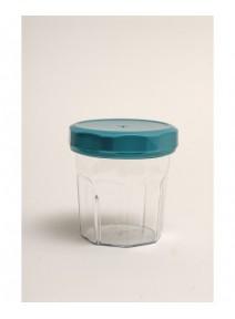 bocal cristal avec couvercle turquoise