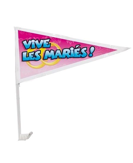 drapeau vive les mariés sur tige plastiq