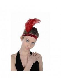 bandeau charleston rouge + plume rouge