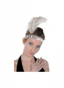 bandeau charleston argent +plume blanche