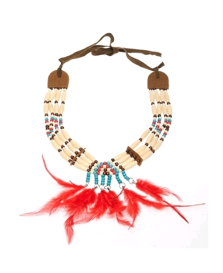 collier indien avec plumes