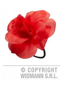 fleur cheveux rouge monté sur chouchou