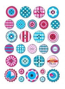 stickersx28 boutons rose et bleu
