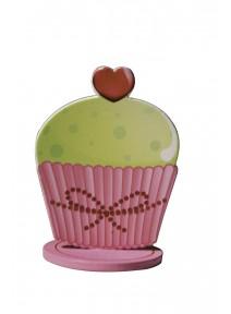cupcakesx3 rose/vert en bois