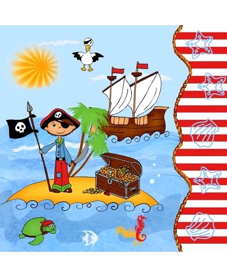 serviettesx20/3plis pirate 33x33cm