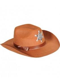 chapeau shérif enfant marron en feutre