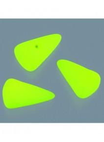20 perles en verres jaune fluo