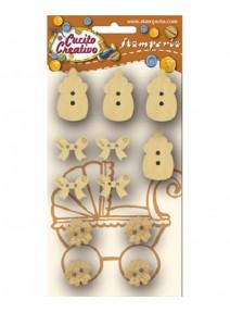 12 sujets boutons en bois biberon noeud