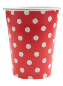 10 gobelets 25cl rouge à pois blanc