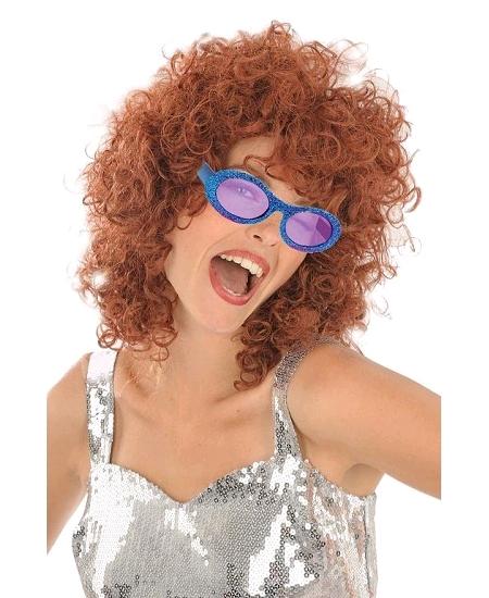 lunette disco pailletée bleu royal