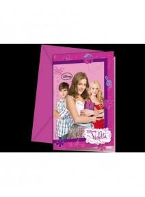 6 cartes d`invitation+6enveloppes Violet