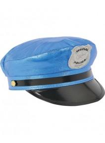 casquette police bleu brillant